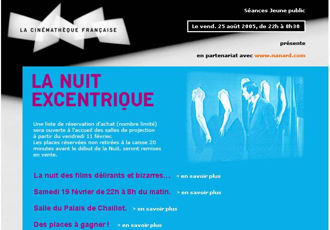 Pour la nuit excentrique à la cinémathèque française, conception HTML de la newletter