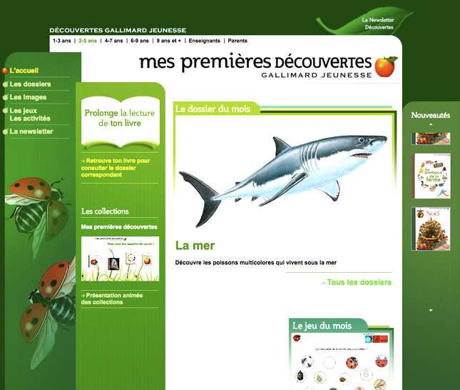 site web gallimard jeunesse, la mer