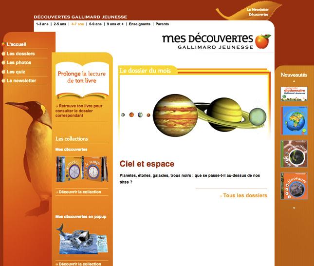site web pour gallimard jeunesse , ciel et espace