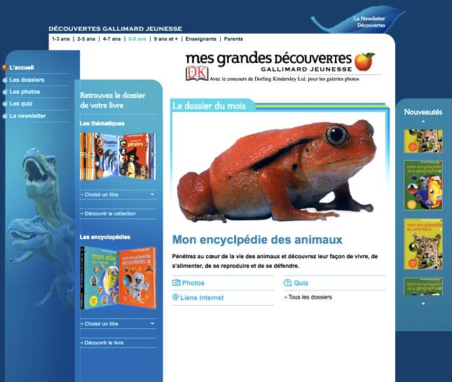 Encyclopédie des animaux pour gallimard jeunesse