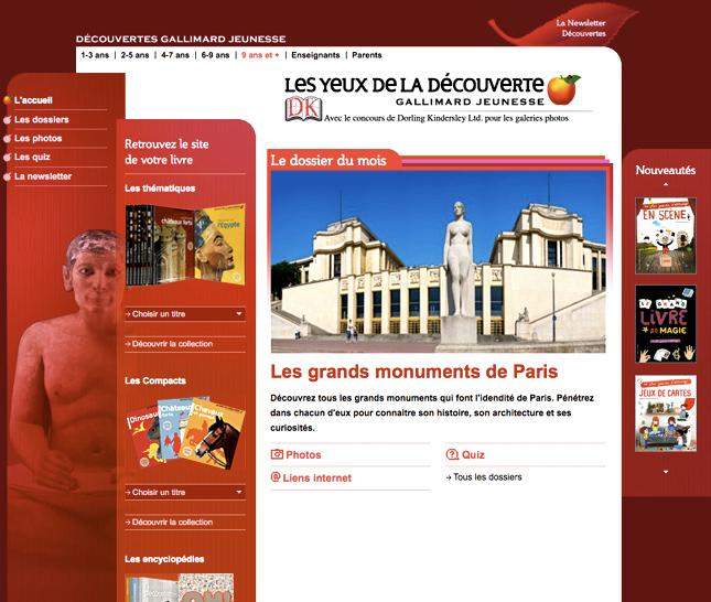 Au yeux de la découverte, site web pour Gallimard