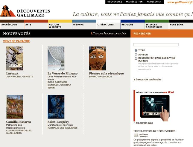 site web pour gallimard, archéologie, arts, culture et société