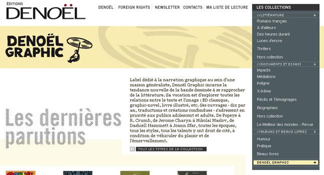 Développement site internet des Éditions Denoël et outil de gestion du catalogue des droits étrangers. Création graphique : Nectar Graphique.