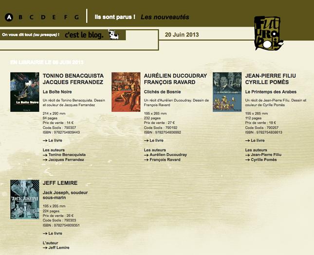 catalogue de futuropolis, blog bande-dessinée