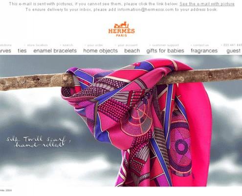 foulard Hermès, Paris: pour newsletter clients pour promotion marque HERMES
