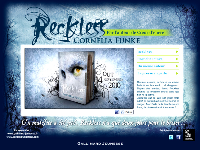 Sortie du livre reckless : site web, gallimard